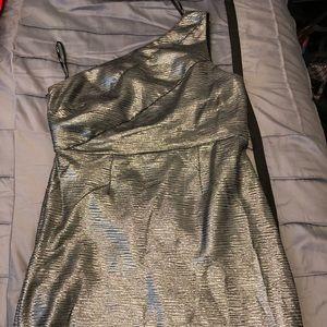 Allen B one shoulder metallic dress